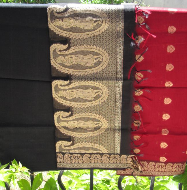 Red and black Indian fabric  from Nalli Silk Saree