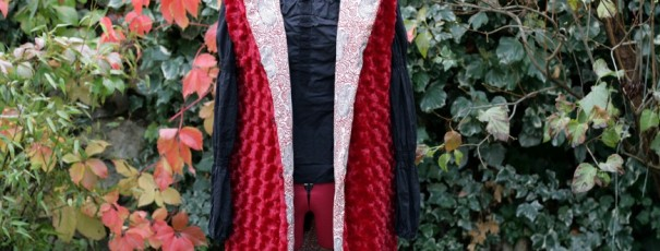 Long red fur vest